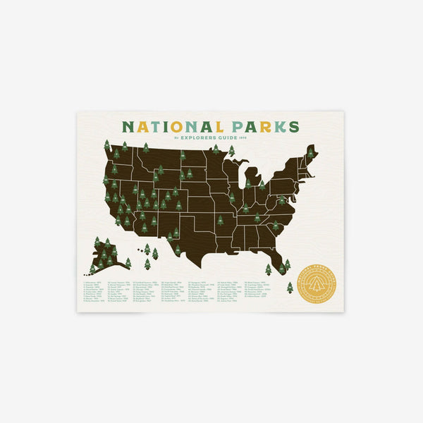 Giclee Map Poster - National Parks 18 x 24