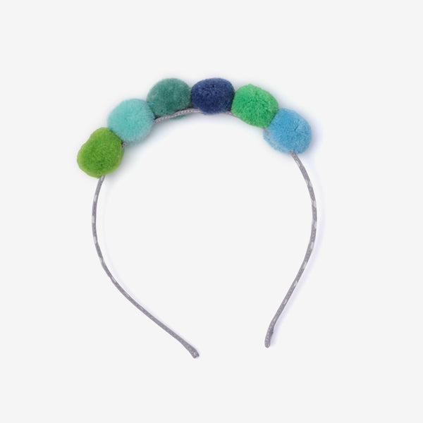 Mini Pompoms Headband - Blues & Greens