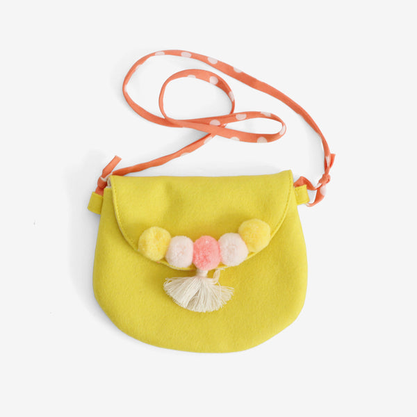 Pompom Purse - Yellow