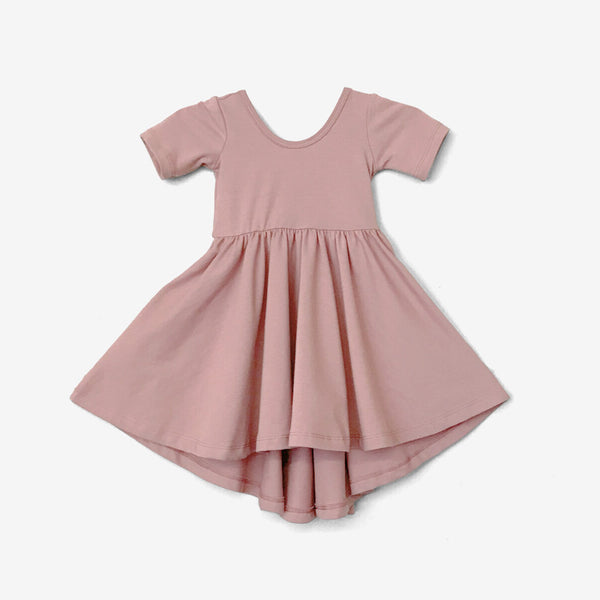 High-Lo Twirl Dress - Mauve Pink