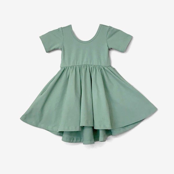High-Lo Twirl Dress - Sage Green