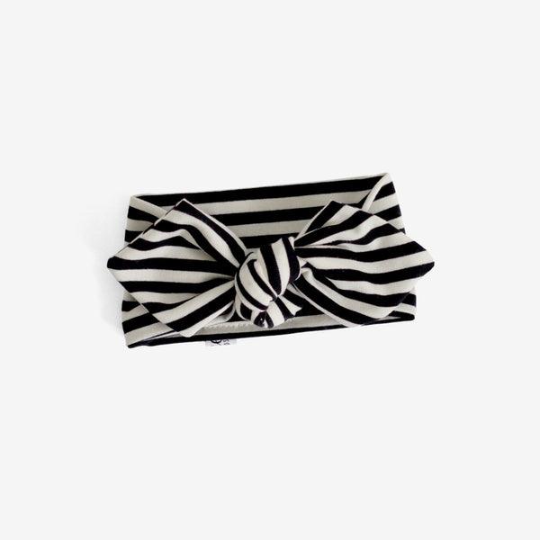 Top Knot Headband - b&w stripe