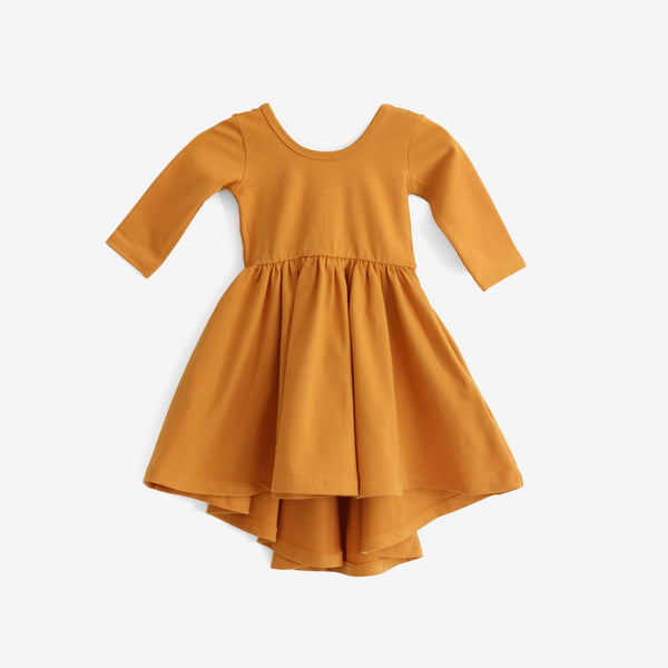 High-Lo Twirl Dress - Mustard