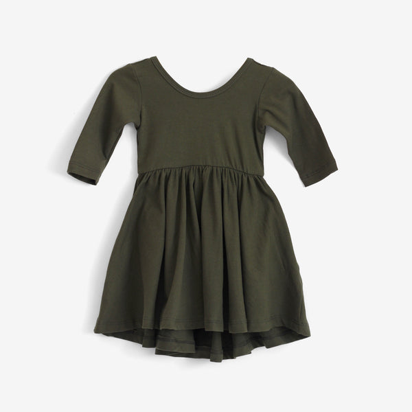 High-Lo Twirl Dress - Olive