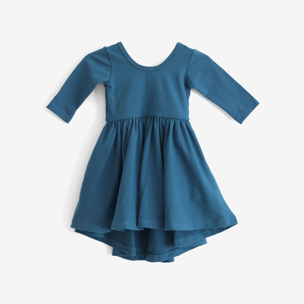 High-Lo Twirl Dress - Teal