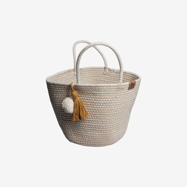 Organic Cotton Rope Basket - Ochre