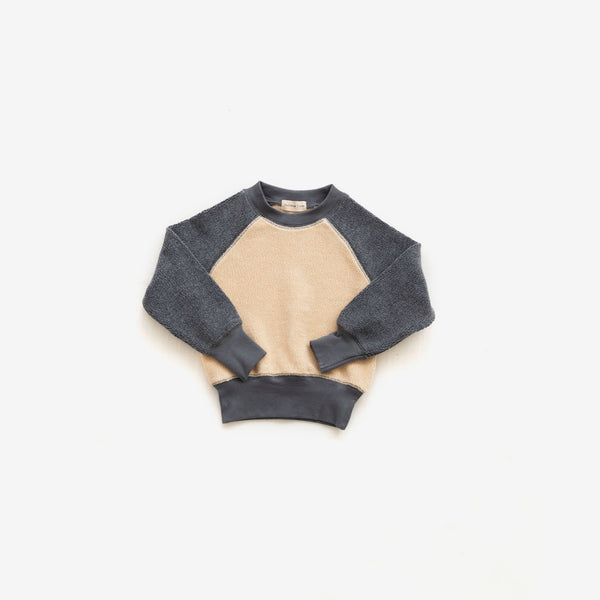 Cotton Sherpa Pullover - Cream + Charcoal
