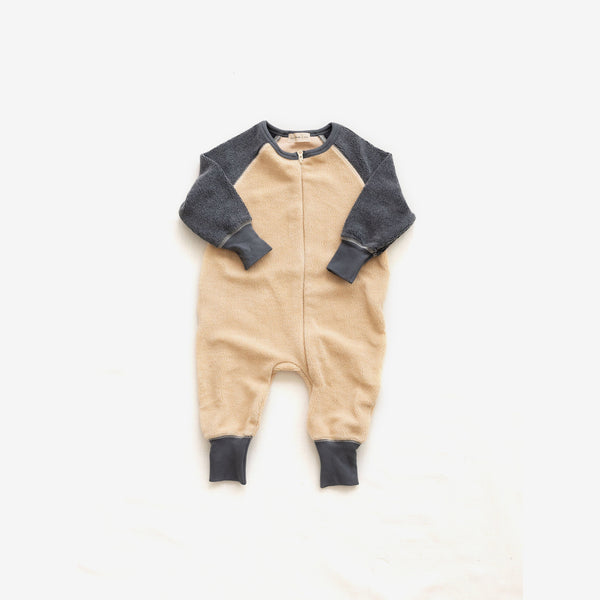 Cotton Sherpa Romper - Cream/Charcoal
