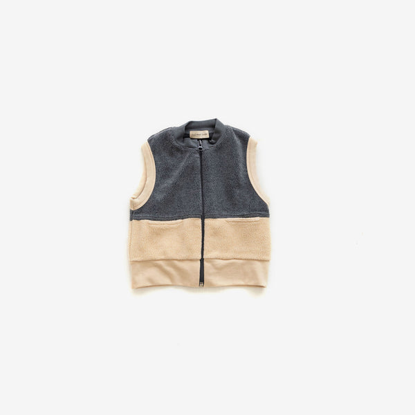 Cotton Sherpa Vest - Cream/Charcoal