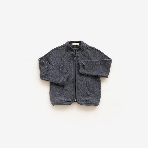 Cotton Sherpa Zip-Up Jacket - Charcoal