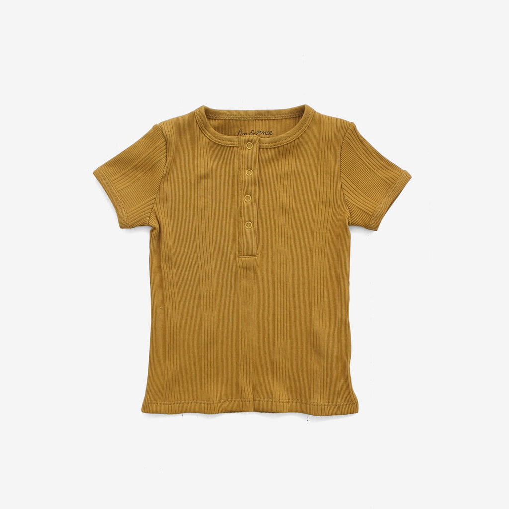 Drop-Needle Rib Snap Tee - Mustard