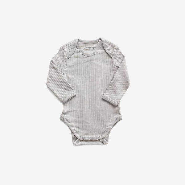 Essential Organic Rib L/S Onesie - Cloud