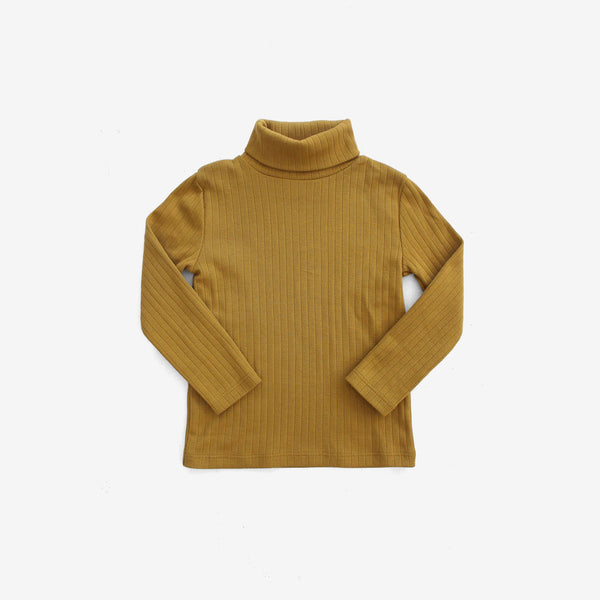 Essential Organic Rib Turtleneck - Mustard