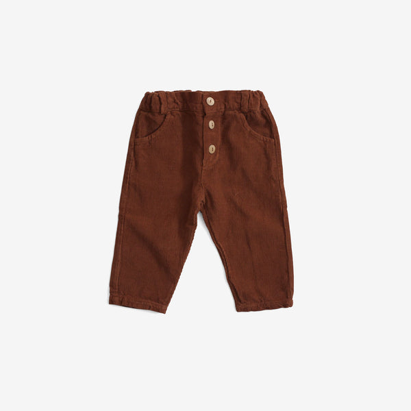Organic Corduroy Button Trousers - Hazelnut