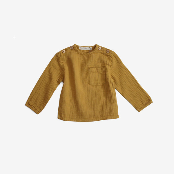 Organic Double Gauze Pocket Top - Mustard