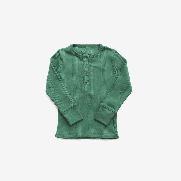 Organic Drop-Needle Rib L/S Snap Tee - Schoolhouse Green