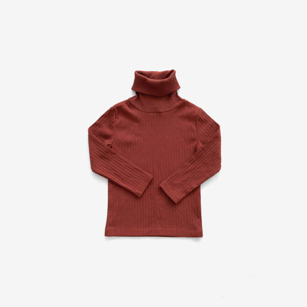 Organic Pima Rib Turtleneck - Gingerbread