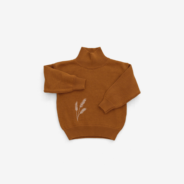 Organic Pima Wheat Sweater - Curry
