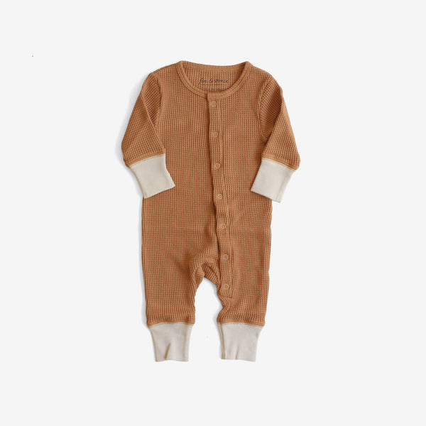 Organic Thermal Long John Romper - Camel