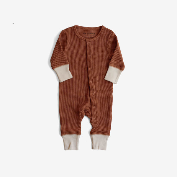 Organic Thermal Long John Romper - Spice