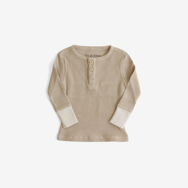 Waffle Thermal Henley - Almond