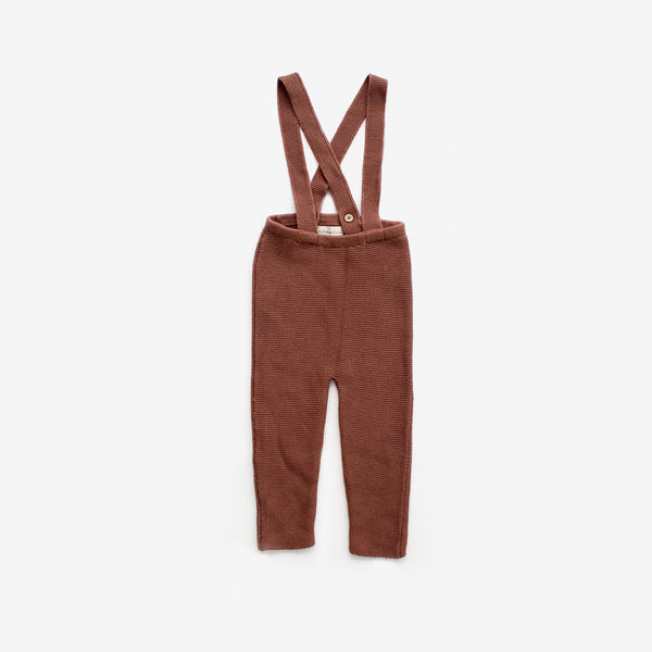 Rib Knit Suspender Pant - Spice