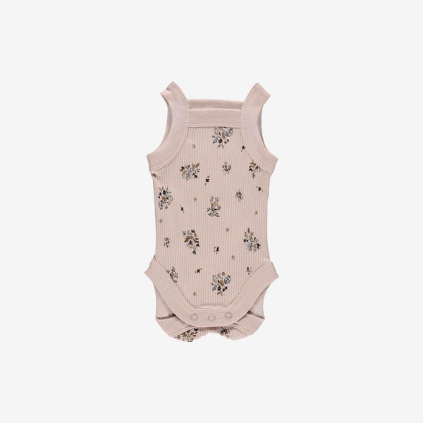 Chunky Strap Organic Pima Tank Onesie - Pretty in Floral