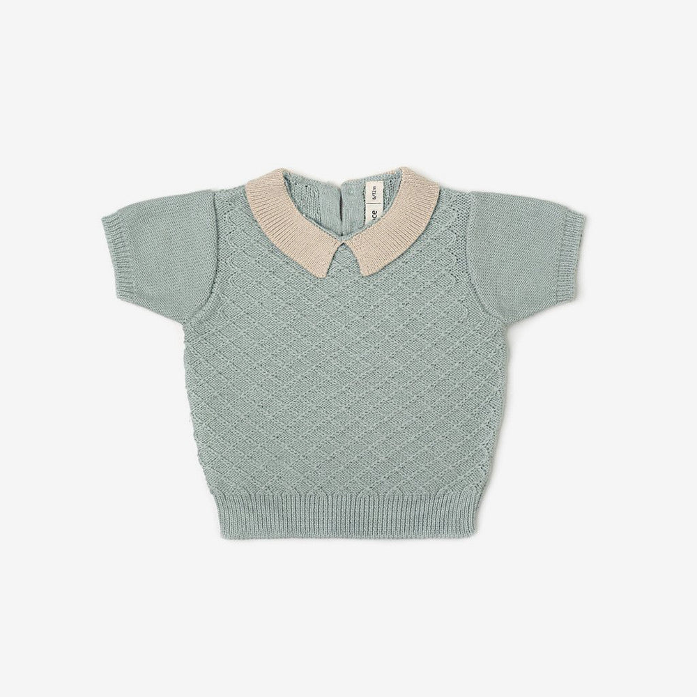 Knit Collar Top - Sage