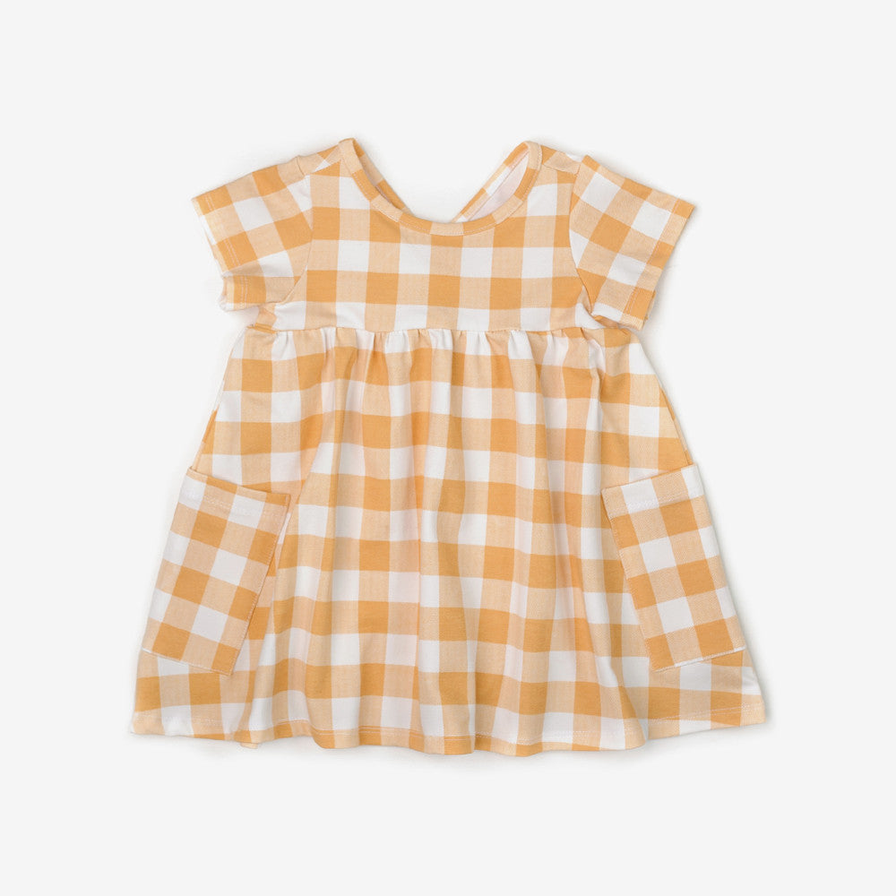 Mustard Plaid Organic Dress