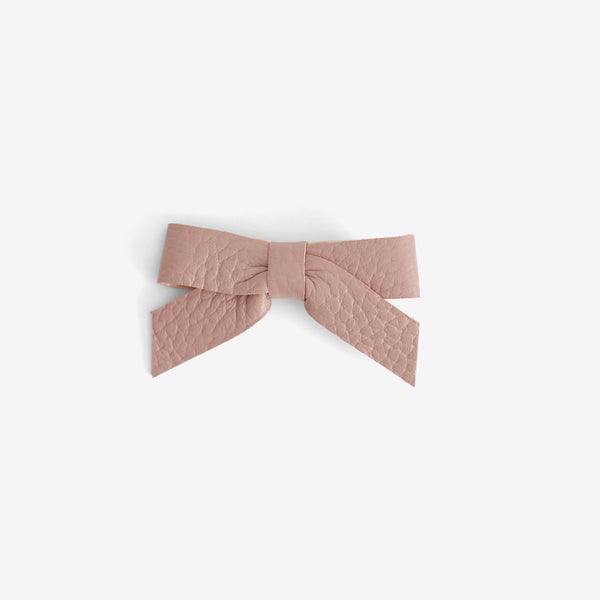 Anne Leather Bow Clip - Bloom