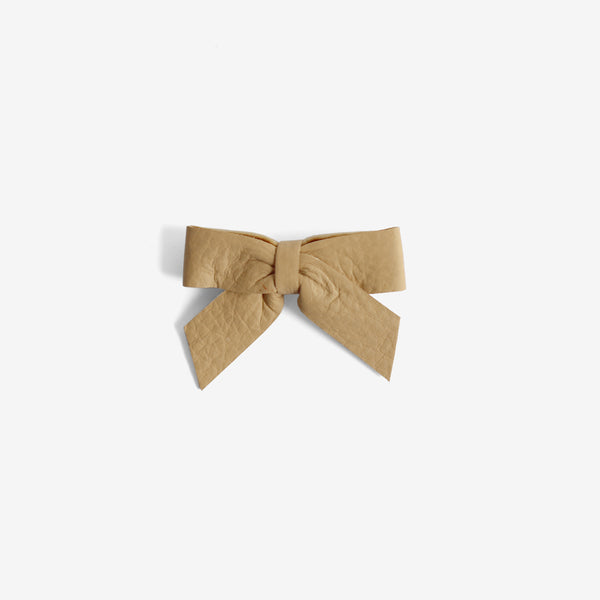 Anne Leather Bow Clip - Maple