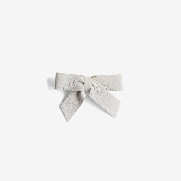 Anne Leather Bow Clip - Chill