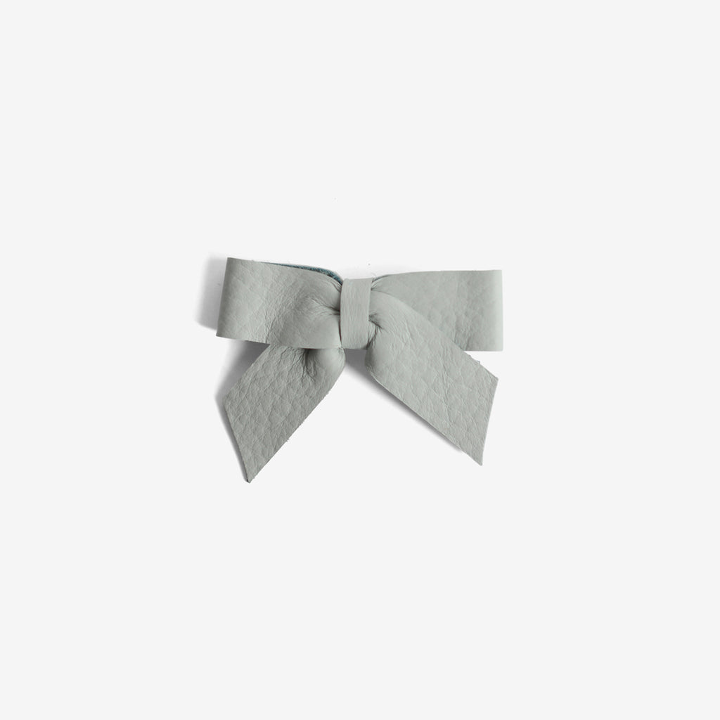 Anne Leather Bow Clip - Cornflower