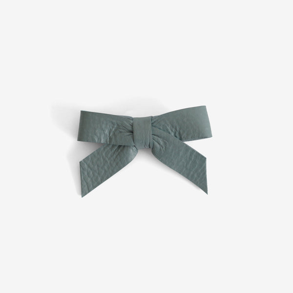 Anne Leather Bow Clip - Dew