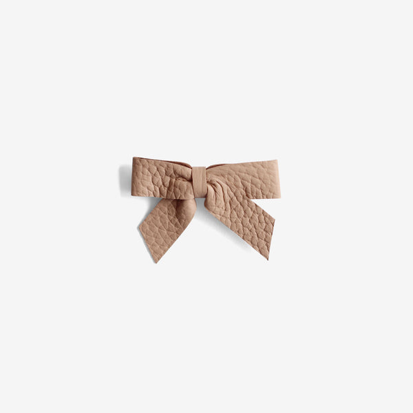 Anne Leather Bow Clip - Earth