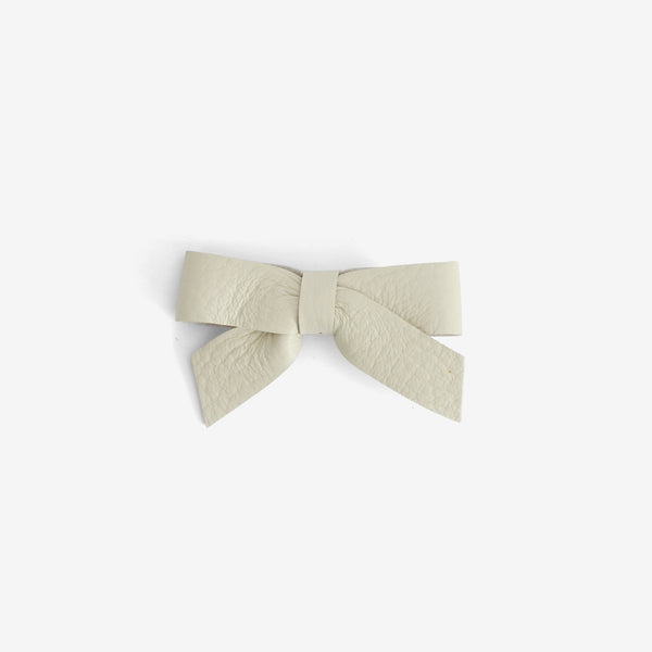 Anne Leather Bow Clip - Glass