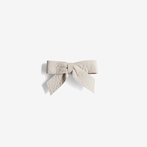 Anne Leather Bow Clip - Oat