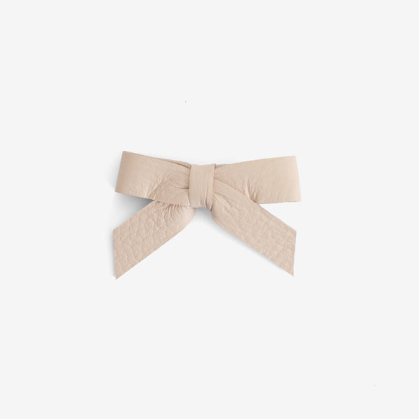 Anne Leather Bow Clip - Salt