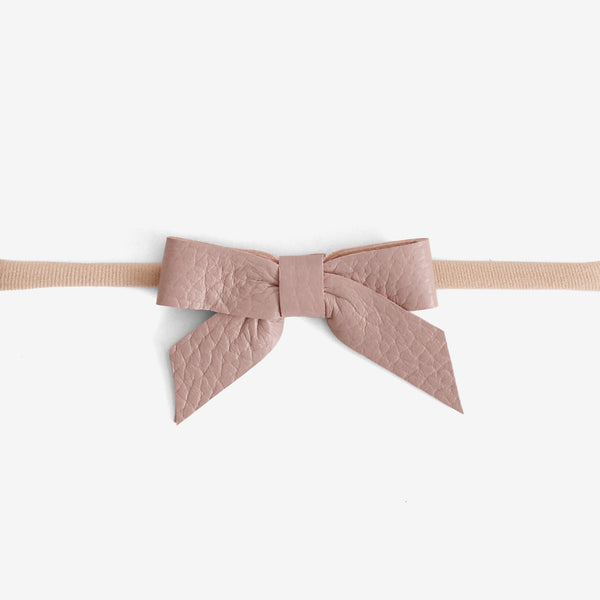 Anne Leather Bow Headband - Bloom