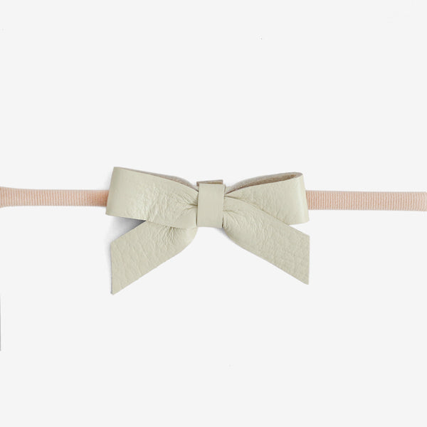 Anne Leather Bow Headband - Glass