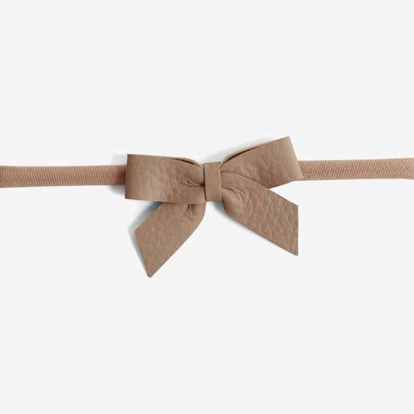 Anne Leather Bow Headband - Hazelnut