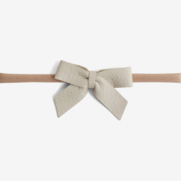 Anne Leather Bow Headband - Linen