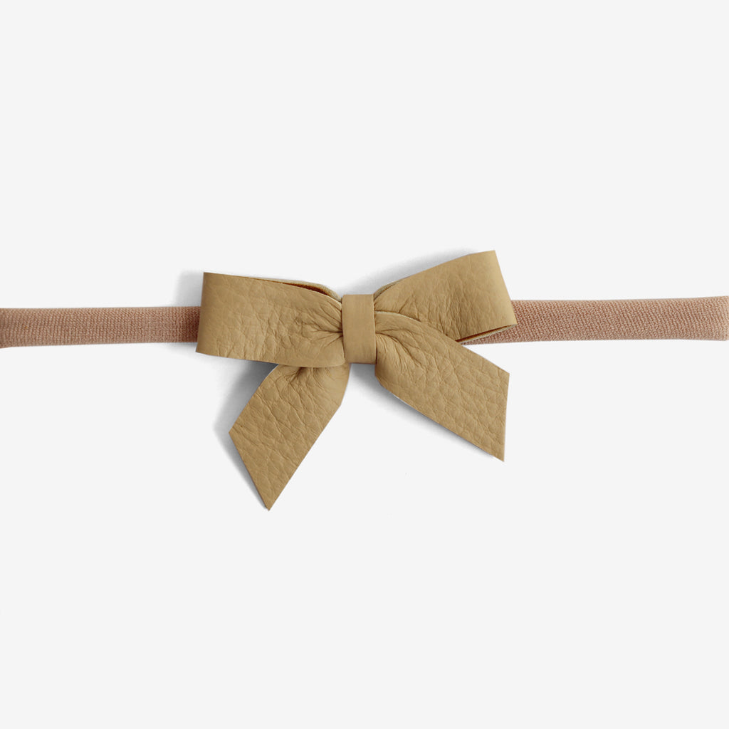 Anne Leather Bow Headband - Maple