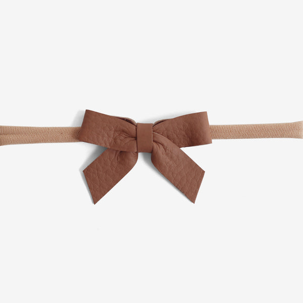 Anne Leather Bow Headband - Rosewood