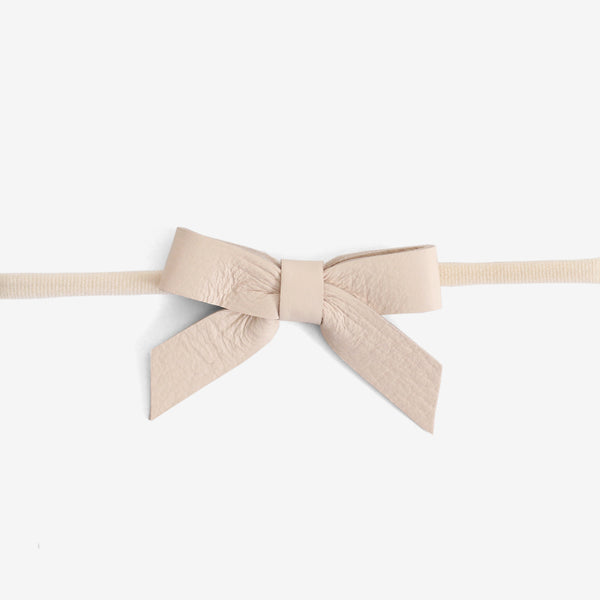 Anne Leather Bow Headband - Salt