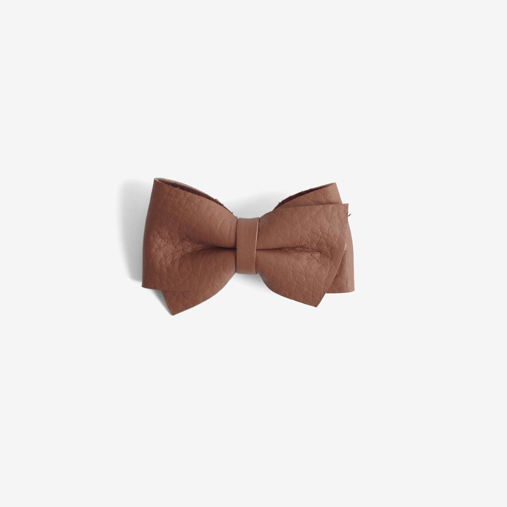 Blaire Petite Leather Bow Clip - Rosewood