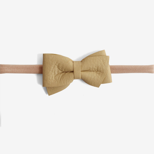 Blaire Petite Leather Bow Headband - Maple