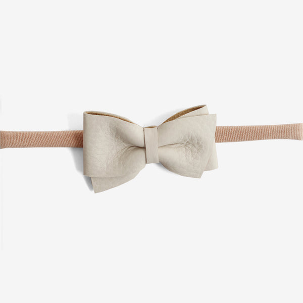 Blaire Petite Leather Bow Headband - Linen