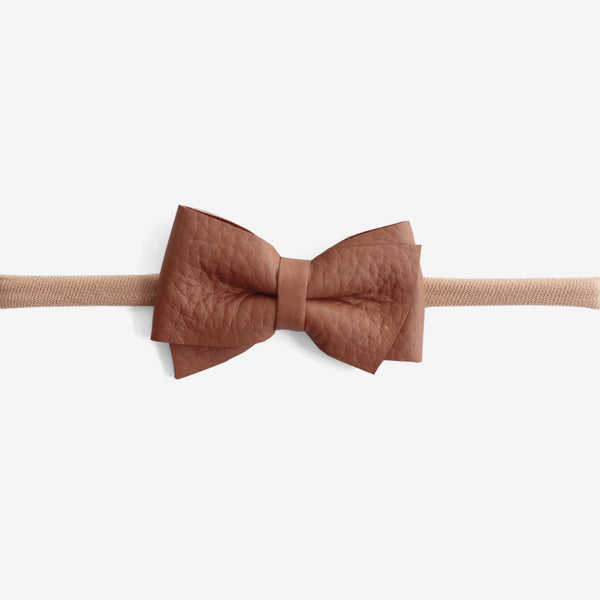 Blaire Petite Leather Bow Headband - Rosewood