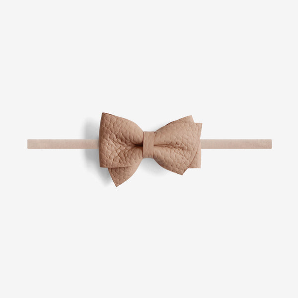 Blaire Petite Leather Bow Headband - Earth